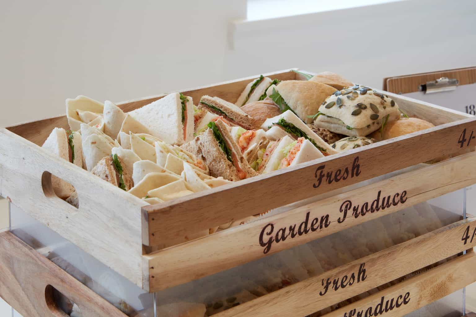 18 Smith Square Conference Venue, Hospitality, Selection of sandwiches and rolls in a wooden display tray